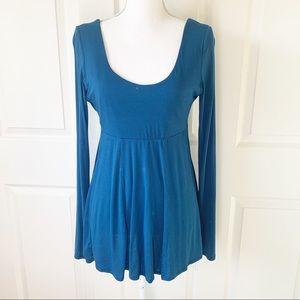 Moda International Blue Long Sleeve Peplum Blouse